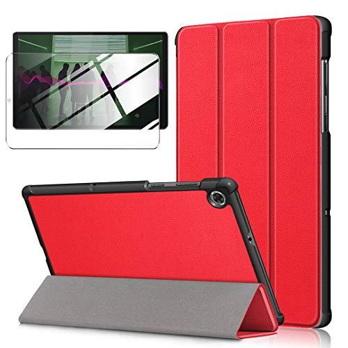 LJSM Funda + Protector Pantalla para Lenovo Tab M10 FHD Plus 10.3' TB-X606F / TB-X606X - Vidrio Templado, Carcasa Silicona Smart Cover con Soporte Función Caso PU Flip Case - Red