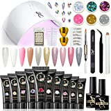 SXC Cosmetics P-06 Polygel Nail Kit with UV Lamp Bridal Series 10 Colors 15ML Nail Extension Gel All-in-One Nail Enhancement Starter Builder Nail Technician Set
