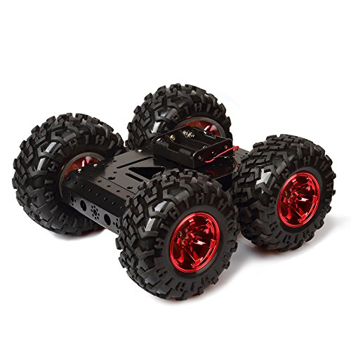 Red Rubber tire 4WD Smart Car Chassis Kit – Non Inflatable Rubber tire + Iron Chassis + 4pcs DC 12V Motors for Arduino Raspberry Pi DIY Obstacle Avoidance Walking on Flat road10.6x10.6x4.7inch