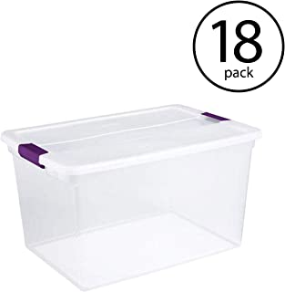 STERILITE 17571706 66 Quart Clearview Latch Box Storage Tote Container, 18 Pack