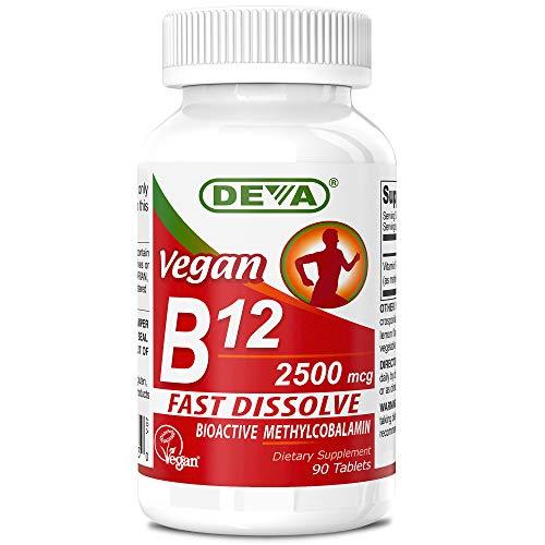 Deva Nutrition Vegan Sublingual Fast Dissolve B-12 Tablets, 2500 mcg, 90 Count