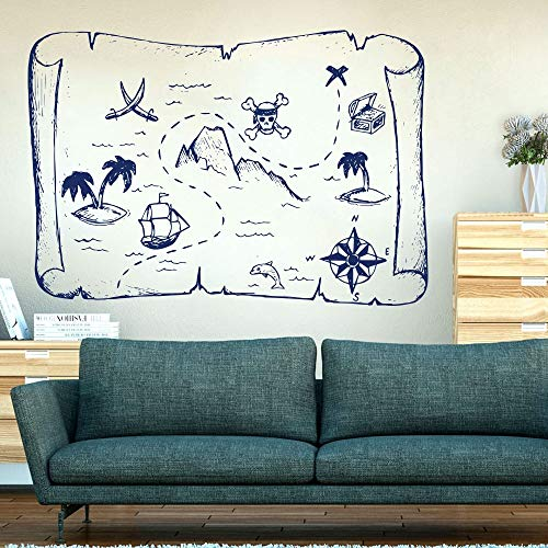 Barco Pirata y Mapa del Tesoro Pegatina de Pared Aula habitación Infantil Figura de Pirata de Dibujos Animados calcomanía de Pared vivero Vinilo decoración del hogar 45x31 cm