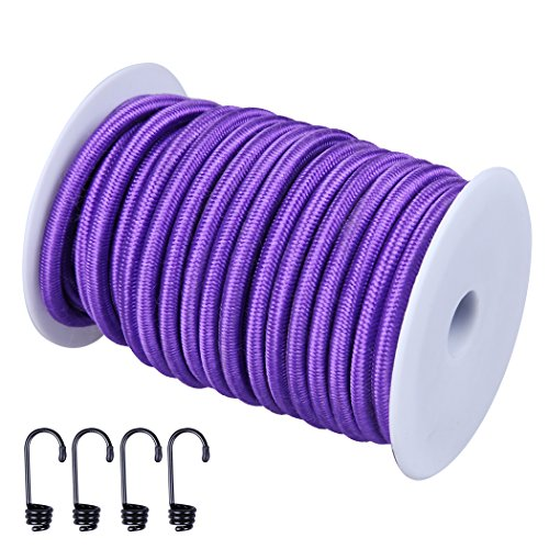 CARTMAN 1/4' Elastic Cord Crafting Stretch String, 40kg x 50ft, with 4 More Hooks, Purple Color