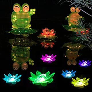 LOGUIDE LED Lotus Light Waterproof Firefly Trendy Hip Unique Color-Changing Flower Night Lamp Garden House Lights Pool Party Fancy Ideal Novel Creative Gift Christmas 6 Pcs (Frog)