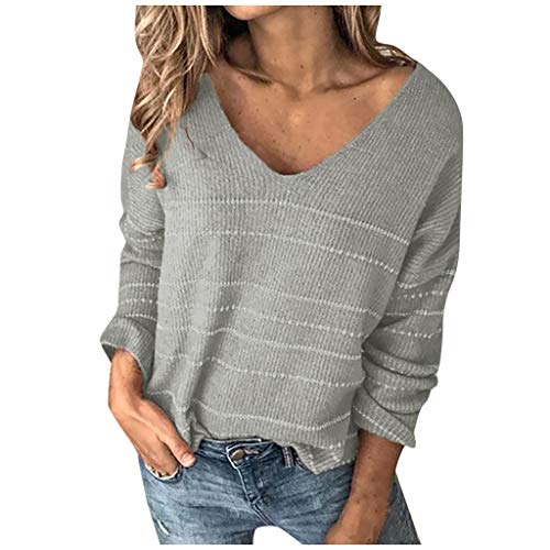 Dosoop Women Sweaters Long Sleeve V Neck Color Block Gold Stripe Oversized Casual Knitted Sweater Pullover Tops