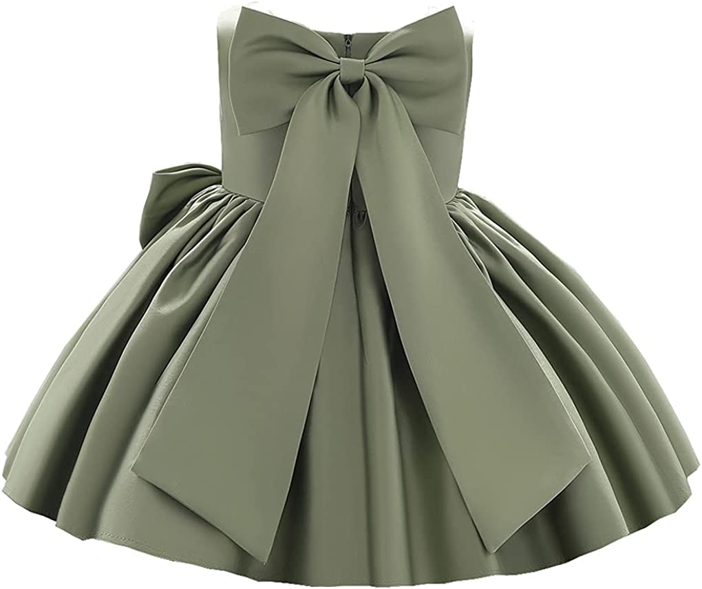 Toddler Baby Little Girls Cute Big Bow Pleated Christing Birthday Party Pageant Dress