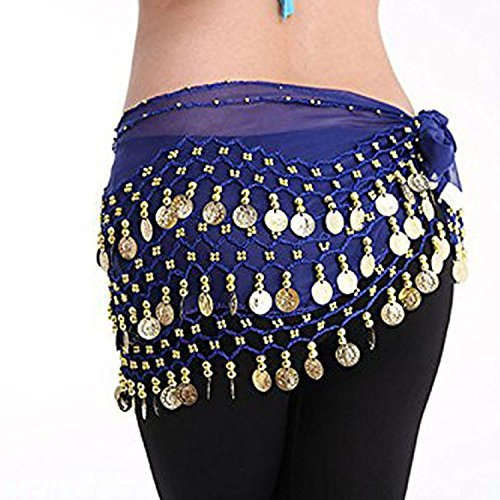 Women Chiffon Dangling Gold Coins Belly Dance Hip Skirt Scarf Wrap Belt (Gold Coin, Dark Blue)