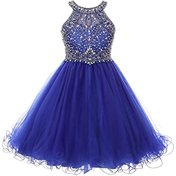 CrunchyCucumber Big Girls Halter Neck Rhinestones Bodice Short Length Wired Tulle Skirt Bridesmaid Party Dress Royal Blue - Size 16