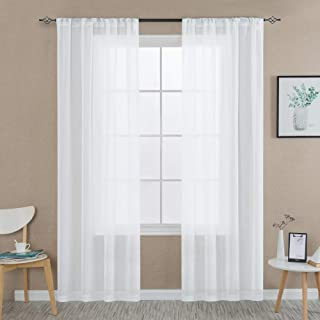 Off-White Sheer Curtains 84 inch Length Living Room Drapes Textured Voile Rop Pocket Curtains Sheer Window Panels for Living Room Window Curtains, 2 Panels