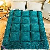 DJLOOKK Colchón de futón Familiar, colchón de Suelo japonés de Espesor Suave, tapete de Tatami Plegable, Almohadilla de colchón para Dormir portátil para Acampar,Verde,200x220cm