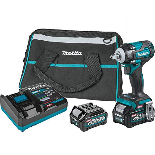 Makita GWT05D 40V Max Brushless Lithium-Ion 1/2 in. Cordless 4-Speed Impact Wrench with Detent Anvil Kit (2.5 Ah)