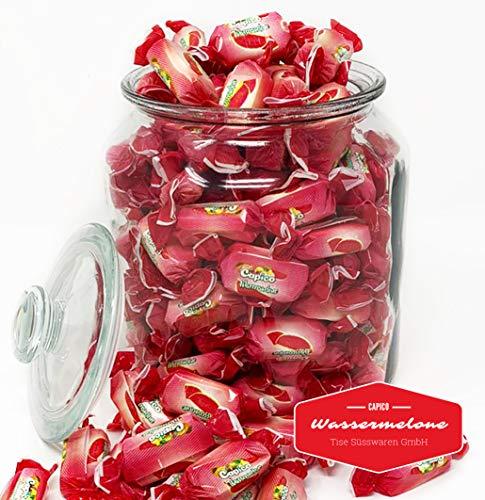 Tise Süsswaren Soft Kaubonbons Wassermelone 1Kg Wurfmaterial Karneval Giveaway, 125 Stück