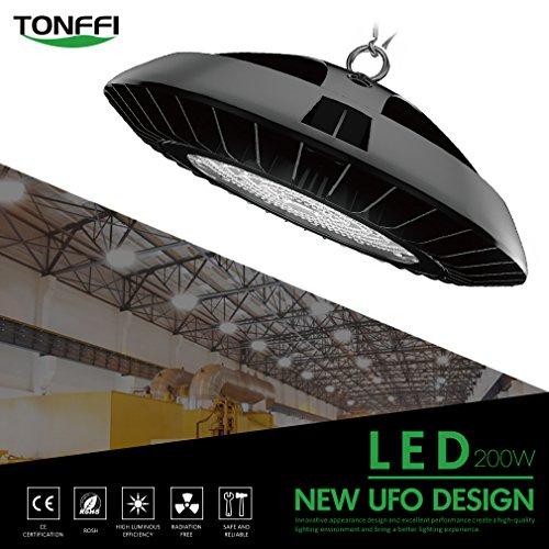 Tonffi Hallenstrahler Tageslicht 200W AC100-270V LED High Bay24000LM LED Fabriklampen 6000K weiss UFO Warehouse Lights mit Haken IP65 SMD3030 Wasserdicht Hängeleuchte schwarz für Lager Kaufhaus