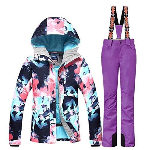 Ski Suit Skianzug Frauen Skijacke Snowboard Hosen Winter-wasserdichte im Freien Günstige Skianzug Damen Sportbekleidung Mantel (Farbe : PRP, Size : L)