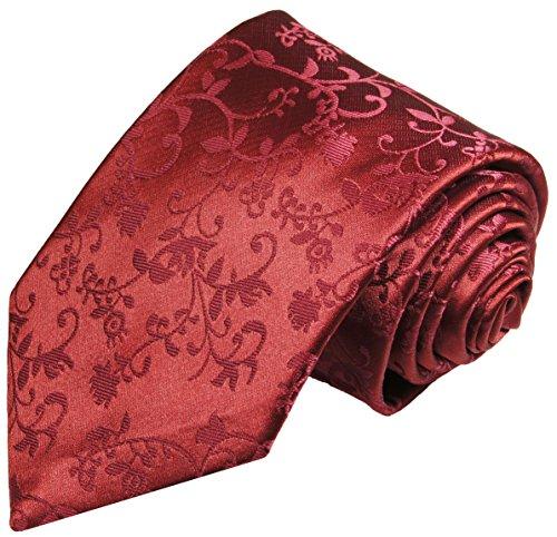 Paul Malone Krawatte bordeaux rot geblümte Hochzeitskrawatte Bräutigam (schmale 6cm)