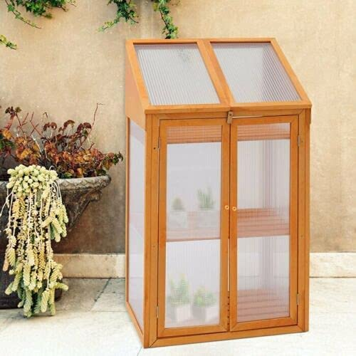 ANK Garden Wooden Mini Greenhouse-Ideal for seed propagation & for growing young plants W69 x D49 x H120cm