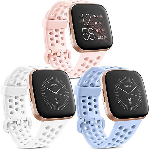 Yandu 3 Pack Kompatible Für Fitbit Versa Armband Fitbit Versa 2 Armband, Atmungsaktiv Sport Verstellbares Ersatzbänder für Fitbit Versa 2 und Fitbit Versa (Weiß/Rosa/Violett, L)