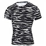 Correr Shirt Hombre Verano Clásica Moda Cuello Redondo Ajustado Elástico Hombre Camiseta Moderno Camuflaje Estampado Hombre Manga Corta Deportivo Casual All-Match Hombre Shirt F-Black White XXL