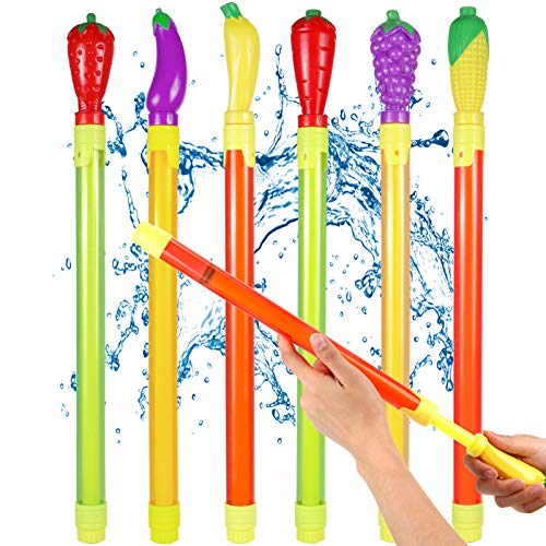 Latocos 6 Pistola de Agua Potente Frutas y Verduras Pistola de Agua de Larga Distancia Grande Pistola de Agua Piscina de Verano Juguetes de Lucha de Agua Juegos al Aire Libre para Niños y Adultos