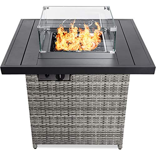 Best Choice Products 32in Fire Pit Table 50,000 BTU Outdoor Wicker Patio Propane Gas w/Glass Wind...