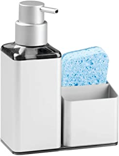 mDesign dispensador de jabón - Dispensador de Gel Recargable con Capacidad de 384 ml - Dispensador de jabon liquido Hecho de Aluminio y plástico - con Porta estropajos Integrado