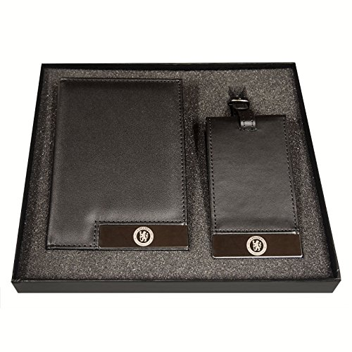 Chelsea FC - Set de cartera para documentos de viaje y etiqueta para maletas - Viene en una caja de regalo