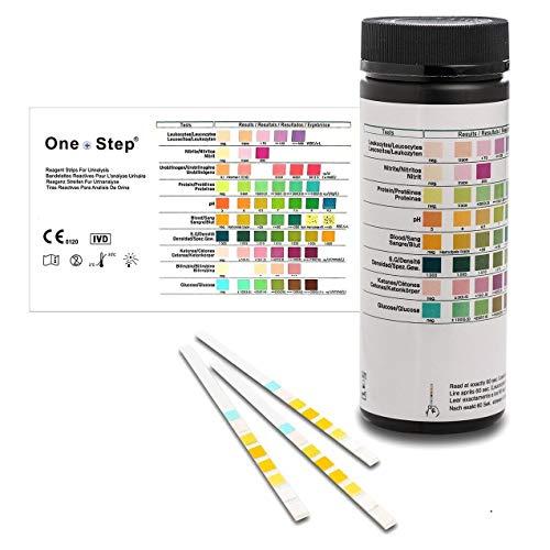 100 Tiras Reactivas para análisis de orina de 8 Parámetros: Leucocitos Nitritos Proteina pH Sangre Densidad Cetona Glucosa