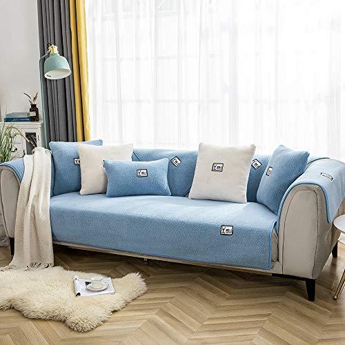 Copridivano antiscivolo per soggiorno, in pile, per divano, in pile, spesso, antiscivolo, per divano, 90 x 90 cm, colore: blu
