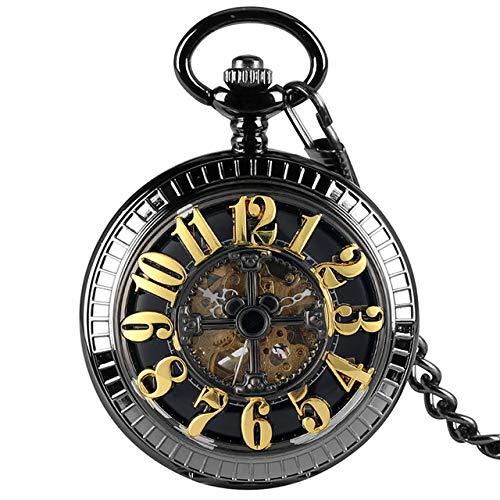 FQD&BNM Pocket Watch Self Winding Mechanical Pocket Watch Black/Green Arabic Numerals Dial Automatic Pocket Clock Steampunk Pendant Watch Gift,Black Dial
