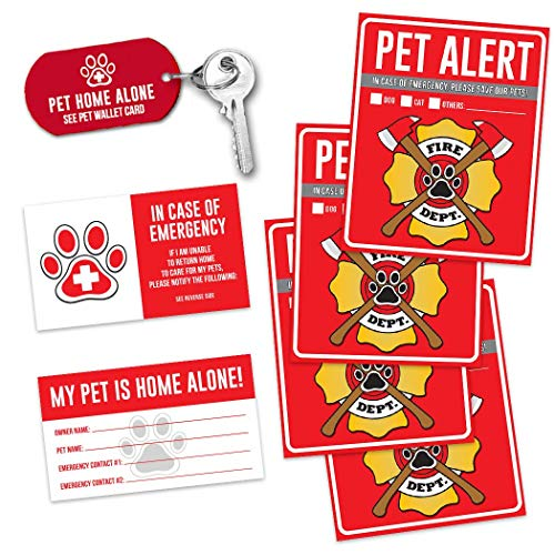 Pet Alert Fire Rescue Sticker - (4) 5' x 4' Window Door Decal - (2) Animal Care Wallet Cards - (1) Pet Home Alone Key Tag - in Case of Emergency Sign Kit - Safety Save Our Cat Dog Inside Accessories