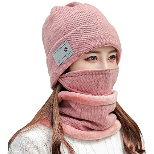 Newlemo Wintermütze Damen und Loop Schal Set mit Winter Gesichtsmaske, Warme Beanie Winter Mütze mit schlauchschal für Damen, Geeignet für Outdoor Sportarten