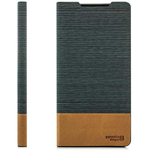 Zanasta Designs Custodia Sony Xperia XA Cover Flip Wallet Case Copertura con Portafoglio Alta qualità (Jeans) Design Grigio Scuro