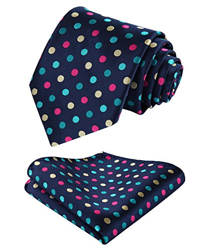 HISDERN Hombre Check Dot Striped Tie Panuelo Wedding Party Prom Necktie & Pocket Square Set