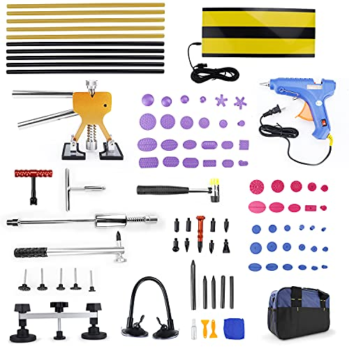FEXON Paintless Dent Repair Removal Remover Tools Kit- 89Pcs Car Dent Puller Kit Easy to Use for Small Dent Repair
