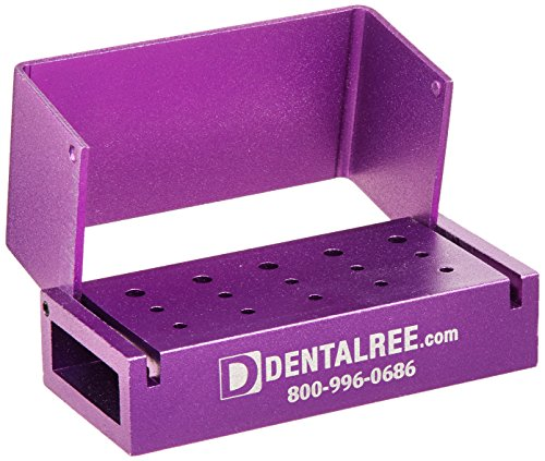 QUALITÉ BUR BLOCK BK-200-P 15 Holes Bur Blocks Friction Grip Shank, Aluminum, Purple