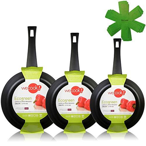 WECOOK Ecogreen Set Juego 3 Sartenes 18-20-24 cm Aluminio, inducción, Antiadherente ecológico sin PFOA, Limpieza lavavajillas Apta para Todas Las cocinas, vitroceramica, Gas, Negro