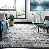 SAFAVIEH Madison Collection MAD460K Moderner Abstrakter, fusselfreier Wohnzimmerteppich für Schlafzimmer, 90 x 150 cm, Grau / Blau