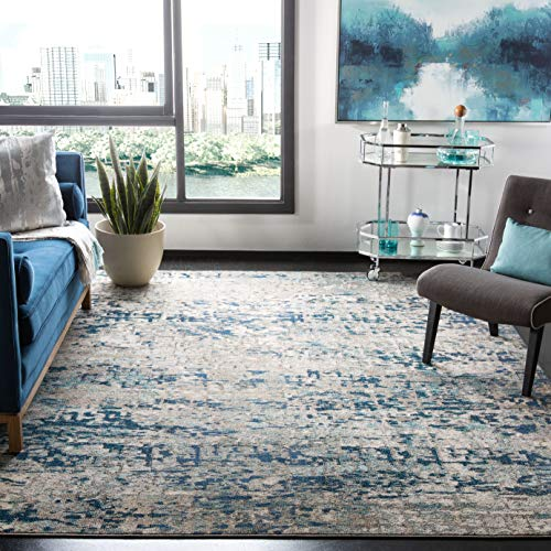 Safavieh Madison Collection MAD460K Modern Abstract Non-Shedding Living Room Bedroom Dining Home Office Area Rug, 5'3' x 7'6', Grey / Blue
