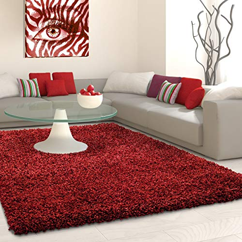 SHAGGY Rug Rugs Living Room Large Soft Touch 5cm Thick Pile Modern Bedroom Living Room Area Rugs Non Shed (Red, 120cm x 170cm (4ft x 6ft))