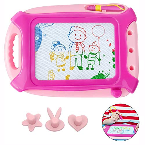 Jaolex Magnetic Drawing Board for Toddlers, Doodle Writing Board Painting Erasable Sketching Pad for Kids Travel Games Educational Toys, Travel Size (Pink)