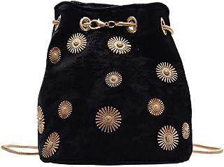 Ulisty Damen Klein Samt Eimer Tasche Mini Schultertasche Kettenriemen Umhängetasche Handtasche Tägliche Tasche schwarz