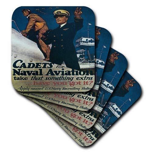 3dRose CST_149422_1 Vintage Cadets for Naval Aviation Us Navy Recruiting Poster-Soft Untersetzer, 4er-Set