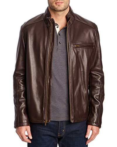 Cole Haan Men's Smooth Lamb Leather Moto Jacket, Java, Medium