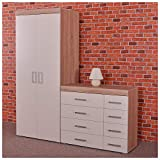 DRP Trading 2 Door Wardrobe & 4+4 Drawer Chest in White & Sonoma Oak Bedroom Furniture Set 8 Draw