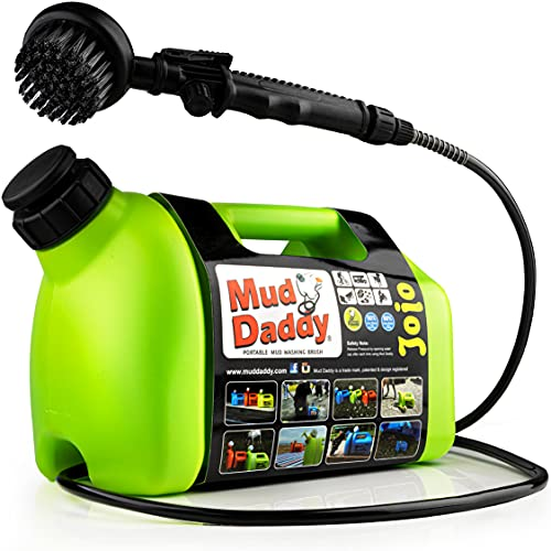 Mud Daddy Portable Dog Washer, Dog Paw Cleaner - Portable Washer with Dog Bath Brush and Shower Hose Attachment, 1.3 Gallon (5L) Green