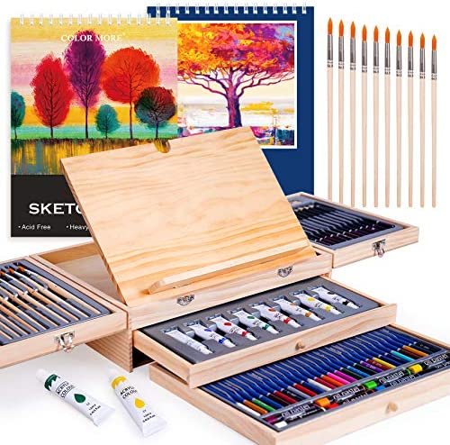 85 Piece Art Supplies with Drawing Easel and 2 Drawing Pads Professional Art Set in Portable product image