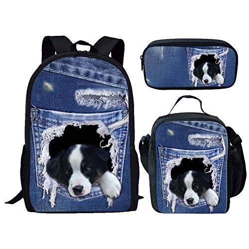 Nopersonality School Bag Set of 3 Cute Dog Childrens Backpack Elementary Girls Boys School Bags and Lunch Box Bag Sets Bookbag Border Collie Denim Blue