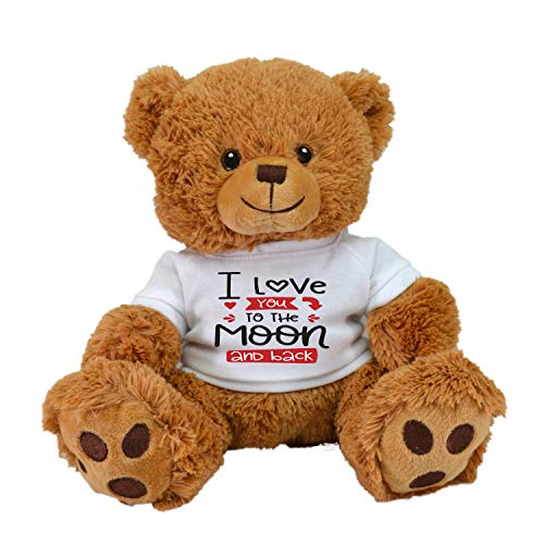 I Love You to The Moon and Back! Pre-Customized Teddy Bear 11' Plush Toy Stuffed Animal Pet Pillow Birthday Gift