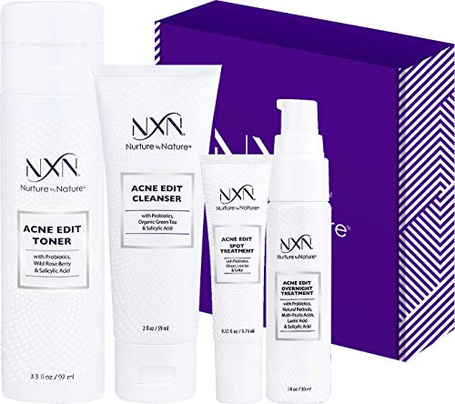 NxN Acne Treatment Kit 4-Step Clear Skin System with Salicylic Acid, Probiotics, Sulfer & Natural...