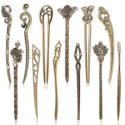 12 Stücke Chinesische Damen Haar Stäbchen, AUHOTA Antike Bronze Dekorative Haar Sticks Essstäbchen, Antiquität Retro Vintage Haarnadel für Haar DIY Zubehör(12 Stile)